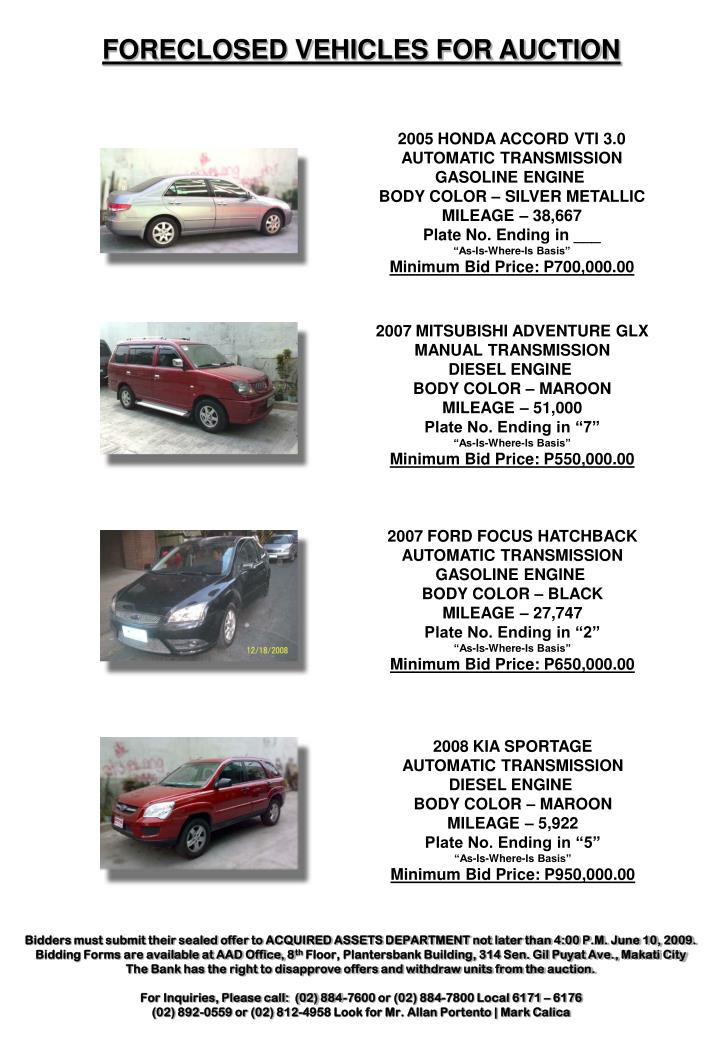 FORECLOSED VEHICLES FOR AUCTION