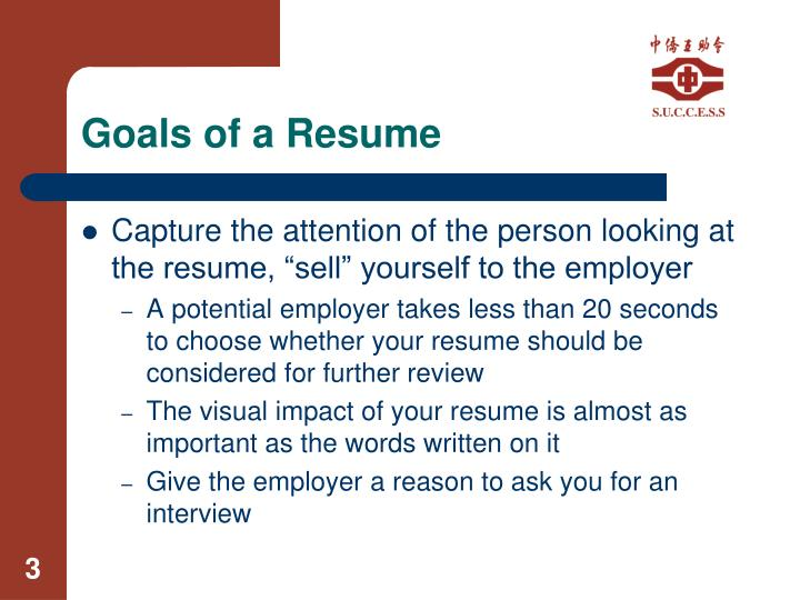 Goals of a resume