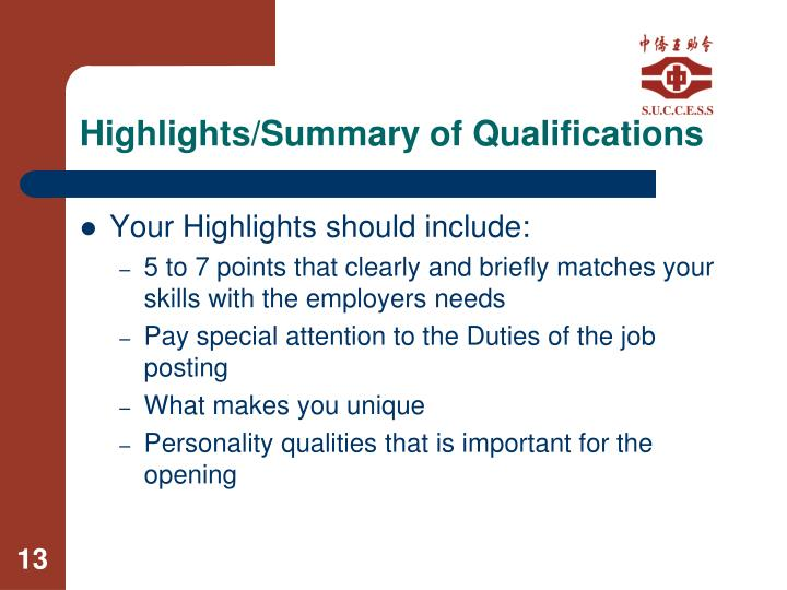 Highlights/Summary of Qualifications