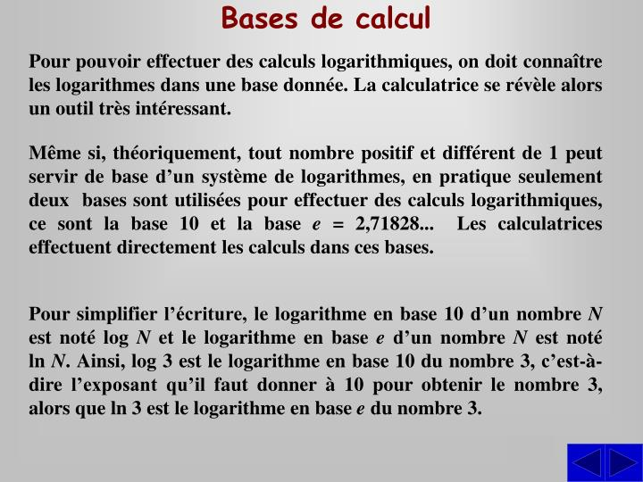 Bases de calcul
