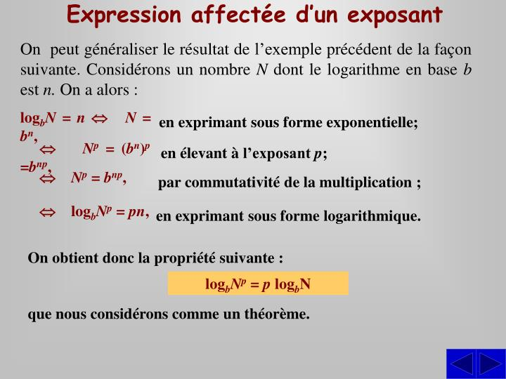 Expression affectée d'un exposant
