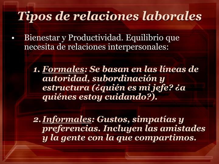 Tipos de relaciones laborales