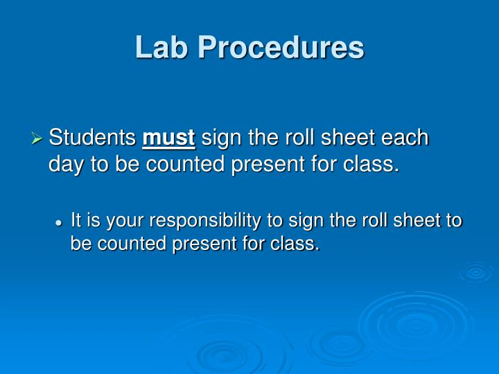 Lab procedures1