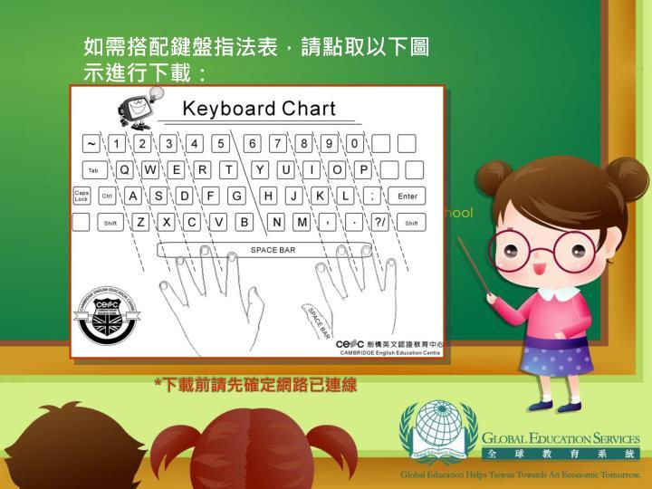 如需搭配鍵盤指法表,請點取以下圖示進行下載: