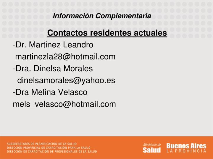 Contactos residentes actuales