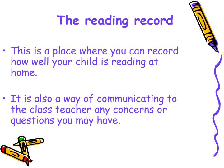 This is a place where you can record how well your child is reading at home.