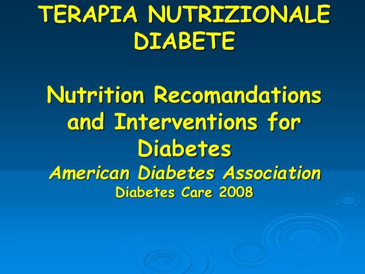TERAPIA NUTRIZIONALE DIABETE