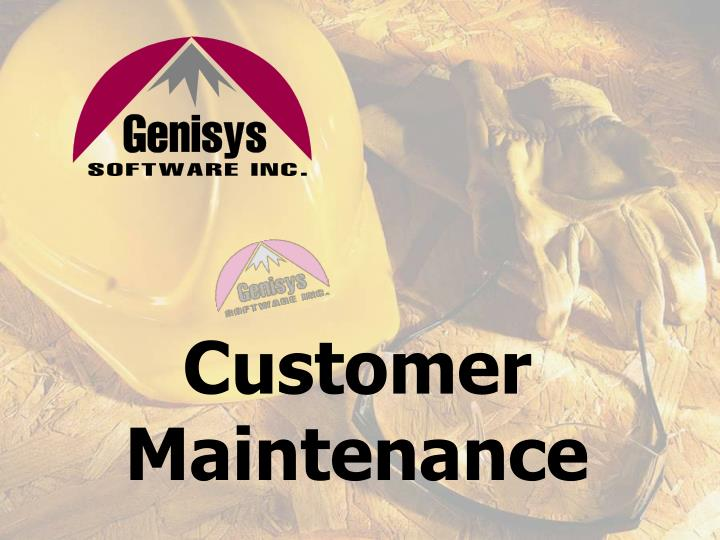 Customer Maintenance