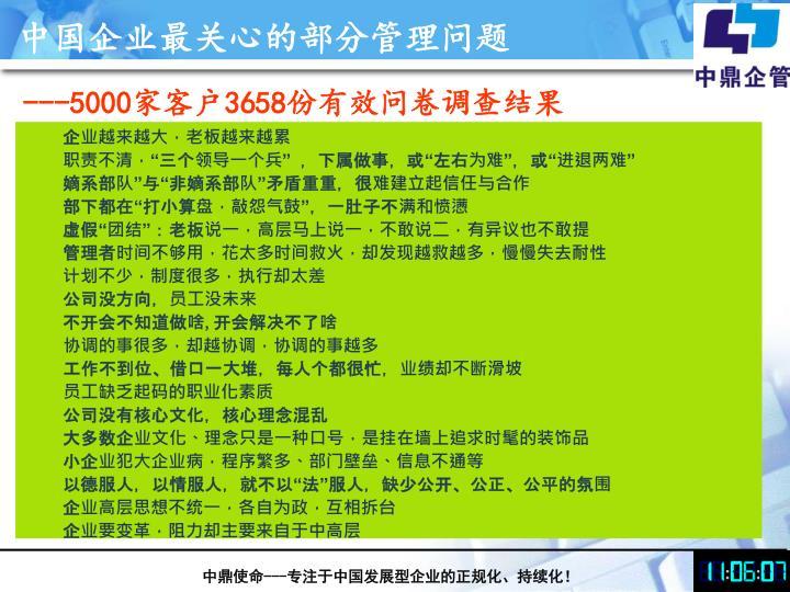 中国企业最关心的部分管理问题