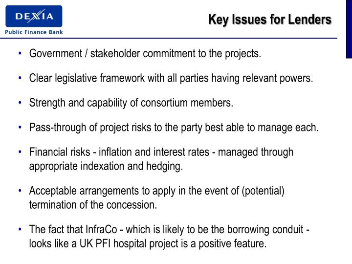 Key Issues for Lenders