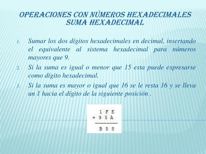 Operaciones con Números Hexadecimales