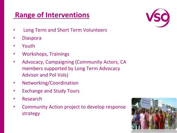 Range of Interventions