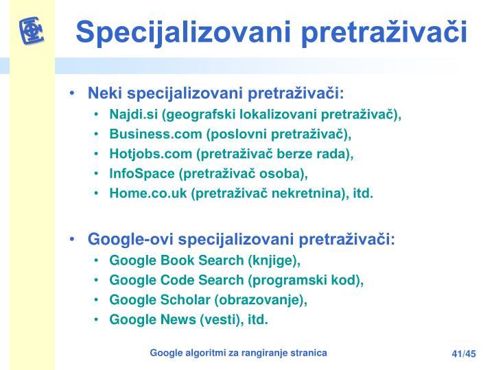 Specijalizovani pretraživači