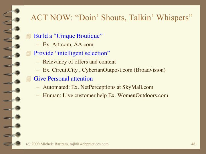 "ACT NOW: ""Doin' Shouts, Talkin' Whispers"""
