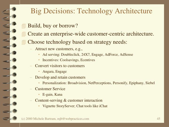 Big Decisions: Technology Architecture