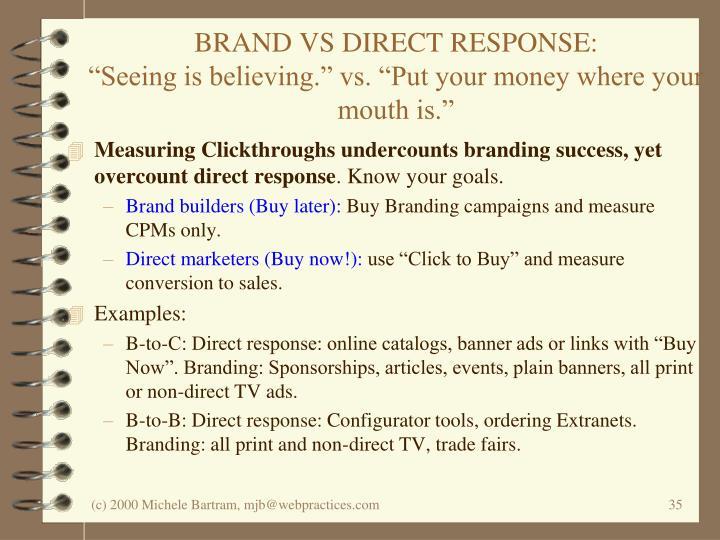 BRAND VS DIRECT RESPONSE: