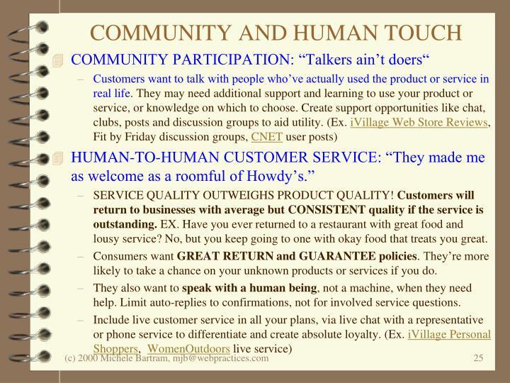 COMMUNITY AND HUMAN TOUCH