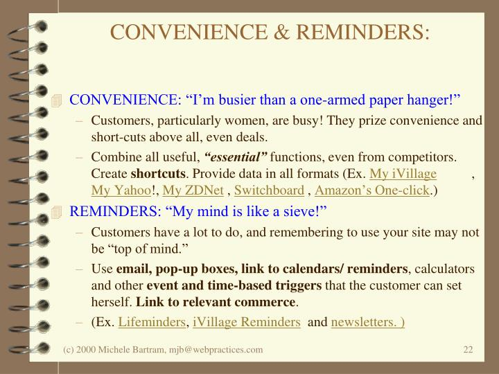 CONVENIENCE & REMINDERS: