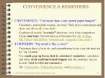 convenience reminders