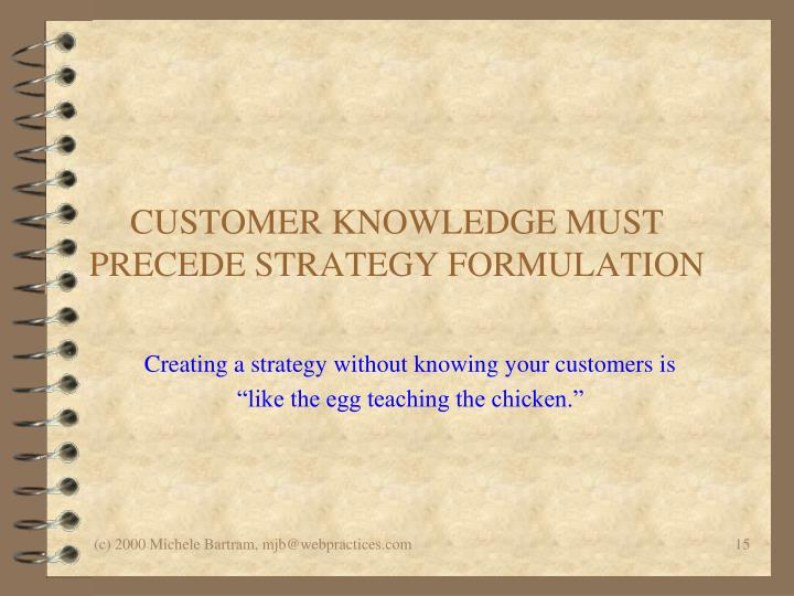 CUSTOMER KNOWLEDGE MUST PRECEDE STRATEGY FORMULATION