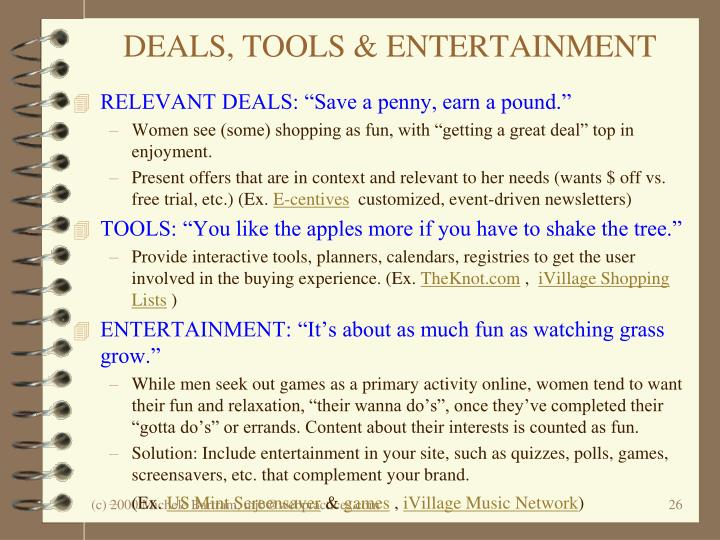 DEALS, TOOLS & ENTERTAINMENT