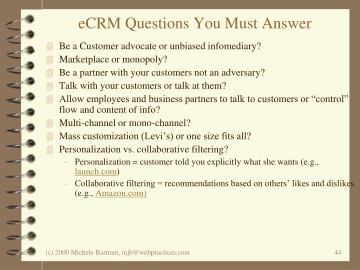 eCRM Questions You Must Answer