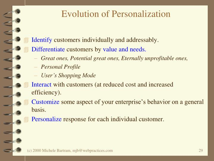 Evolution of Personalization