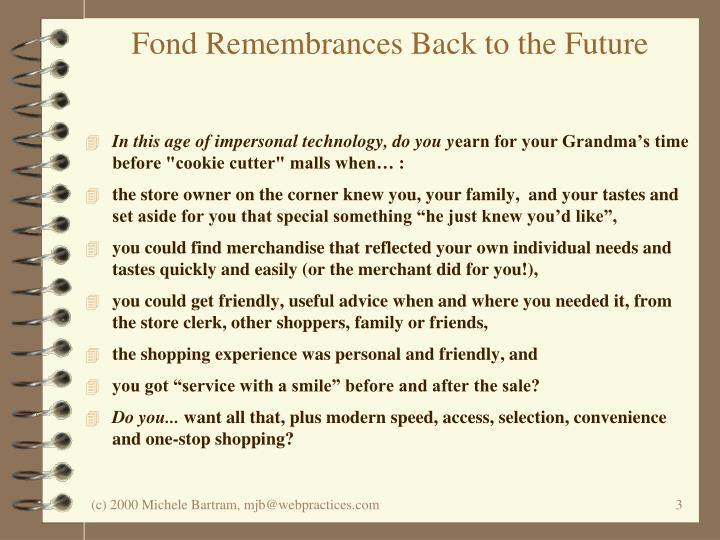 Fond Remembrances Back to the Future