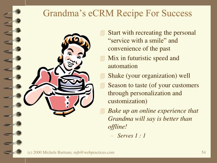 Grandma's eCRM Recipe For Success
