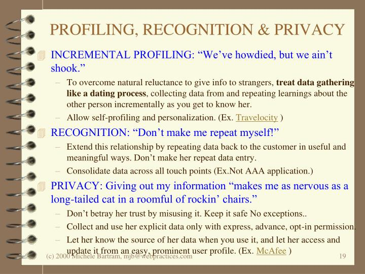 PROFILING, RECOGNITION & PRIVACY