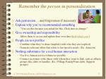 remember the person in personalization