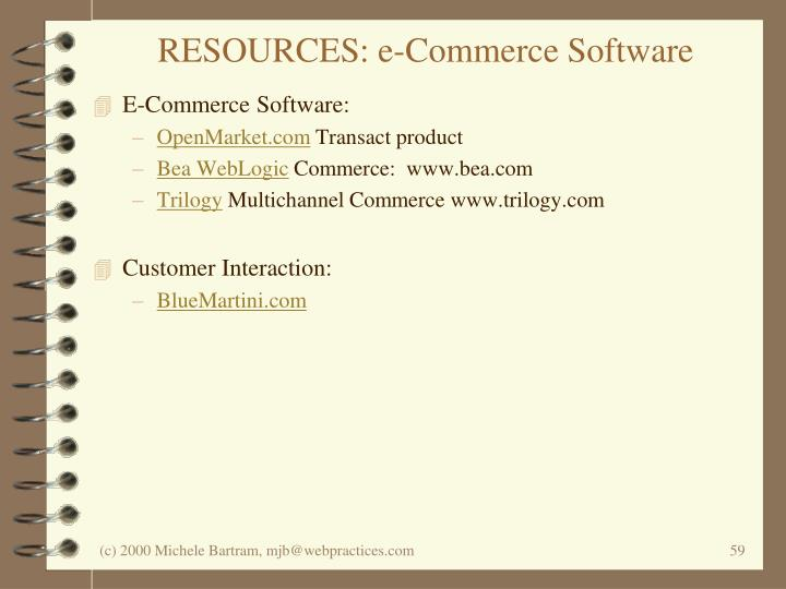 RESOURCES: e-Commerce Software