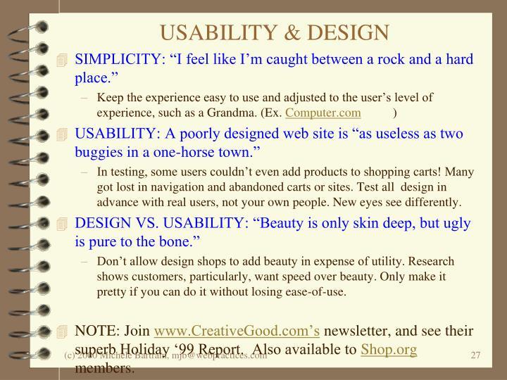 USABILITY & DESIGN