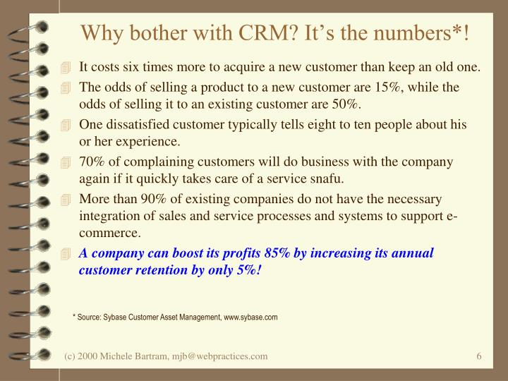 Why bother with CRM? It's the numbers*!
