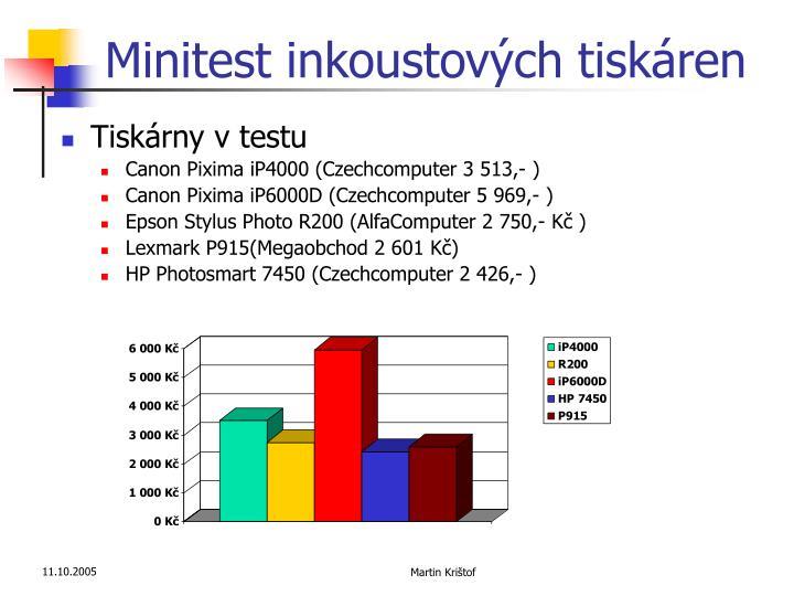 Minitest inkoustových tiskáren