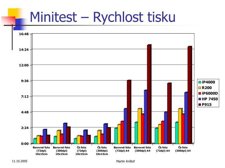 Minitest – Rychlost tisku