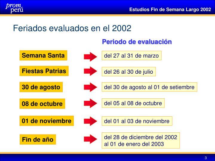 Feriados evaluados en el 2002