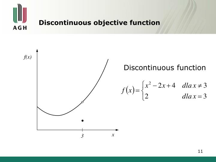 Discontinuous objective function