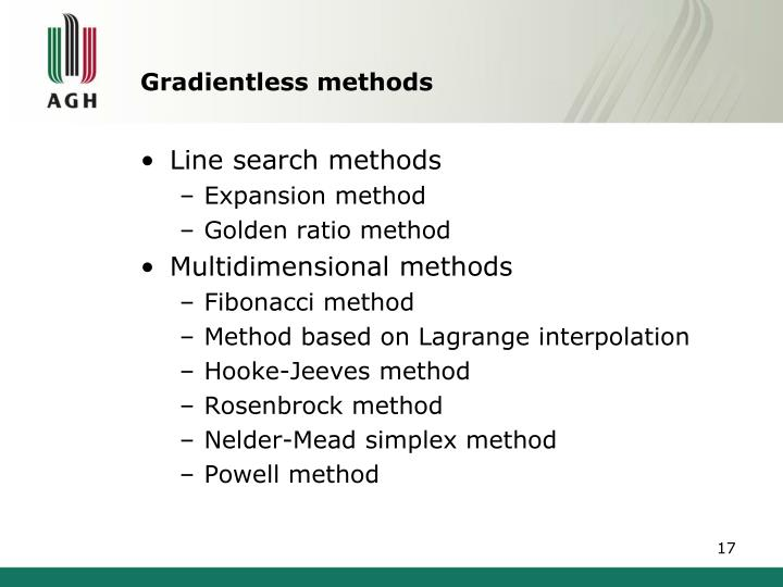 Gradientless methods