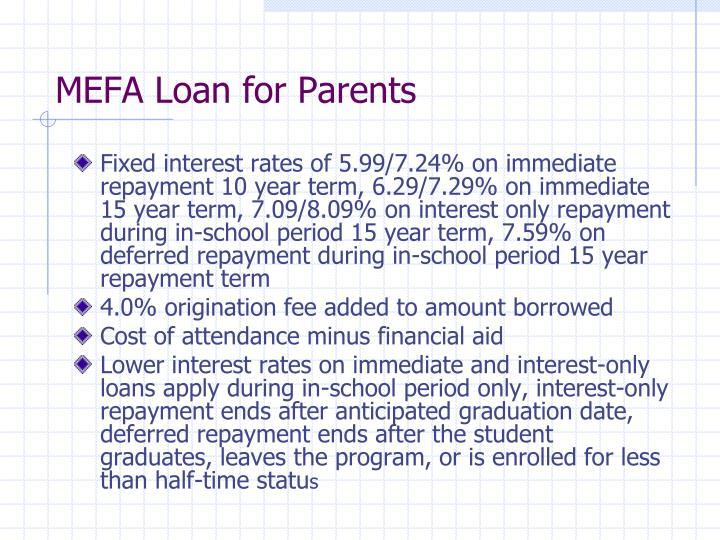 MEFA Loan for Parents