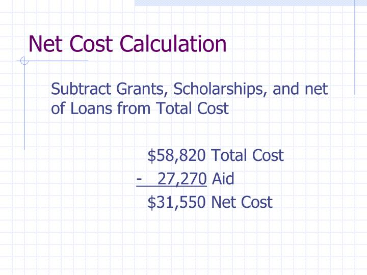 Net cost calculation