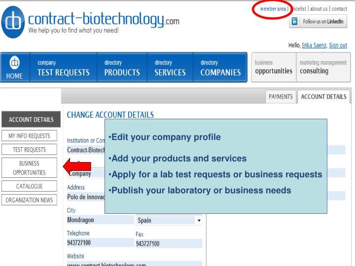 Edit your company profile