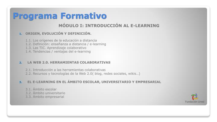 MÓDULO I: INTRODUCCIÓN AL E-LEARNING