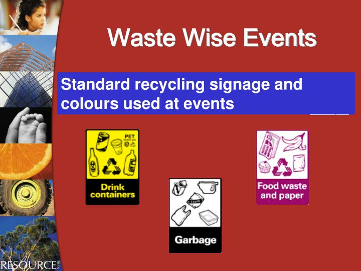Standard recycling signage and colours used at events