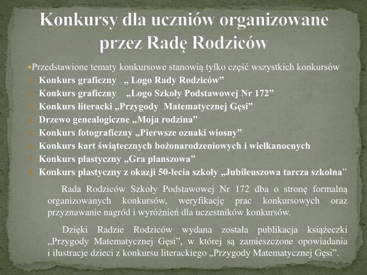 Konkursy dla uczniów organizowane
