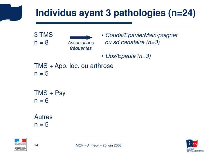 Individus ayant 3 pathologies (n=24)