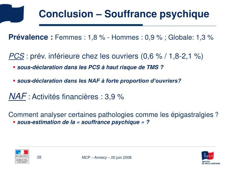 Conclusion – Souffrance psychique