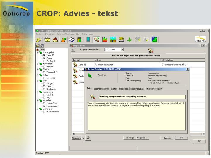 CROP: Advies - tekst