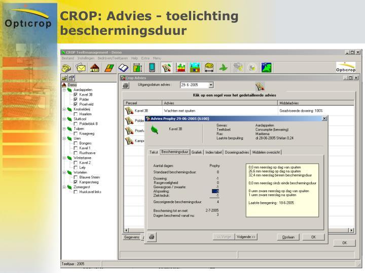 CROP: Advies - toelichting beschermingsduur