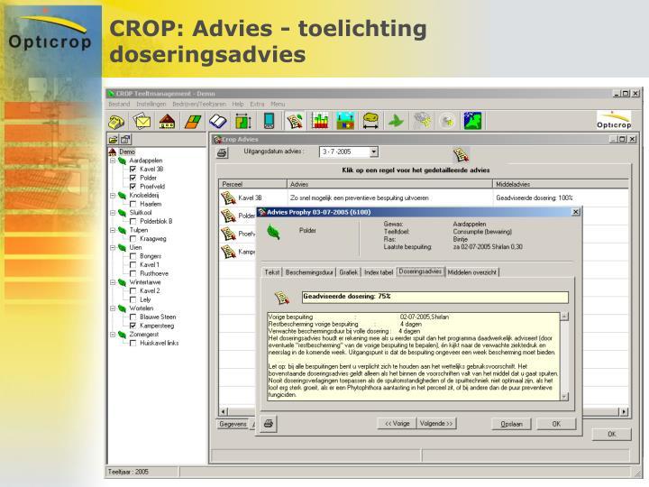 CROP: Advies - toelichting doseringsadvies